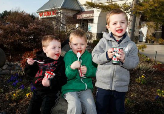 Kids enjoying Rita's Italian Ice for First Day of Spring Deal at Rita's